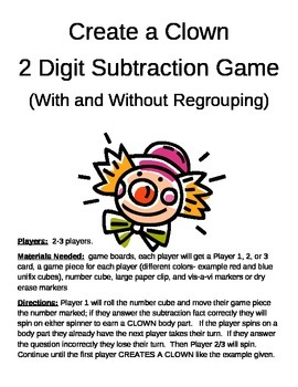 Create a Clown 2 Digit Subtraction With and Without Regrouping Game
