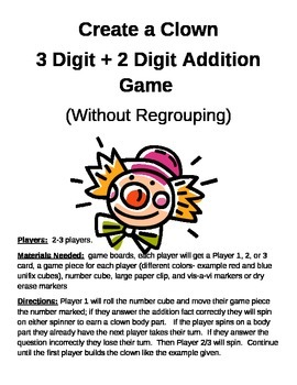Create a Clown 3 Digit + 2 Digit Subtraction Without Regrouping Game