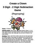 Create a Clown 3 Digit + 2 Digit Subtraction Regrouping Game