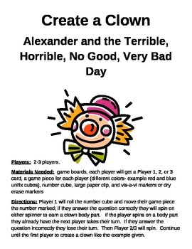 Create a Clown Alexander and the Terrible, Horrible, No Good, Very Bad Day