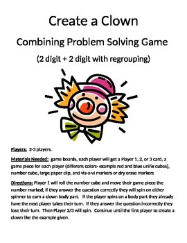 Create a Clown Combining Word Problems 2 digit + 2 digit w