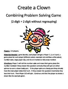 Create a Clown Combining Word Problems 2 digit + 2 digit without regrouping