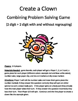 Create a Clown Combining Word Problems 2 digit addition with/ without regrouping