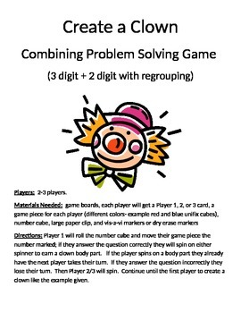 Create a Clown Combining Word Problems 3 digit + 2 digit with regrouping