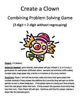Create a Clown Combining Word Problems 3 digit + 2 digit without regrouping