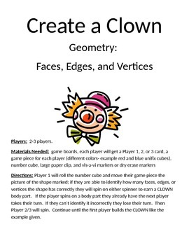 Create a Clown Geometry Faces Edges and Vertices Game
