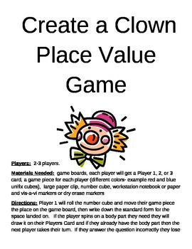 Create a Clown Place Value Game