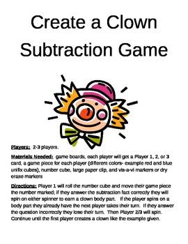 Create a Clown Subtraction Game