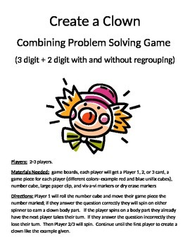 Create a Clown Word Problems 3 digit + 2 digit with and  without regrouping