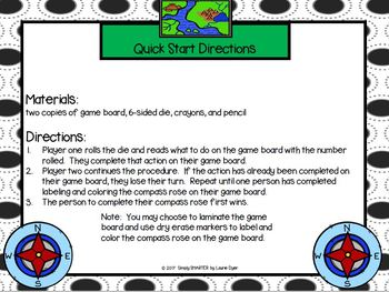 Create a Compass Rose:  NO PREP Roll and Create Map Skills Game