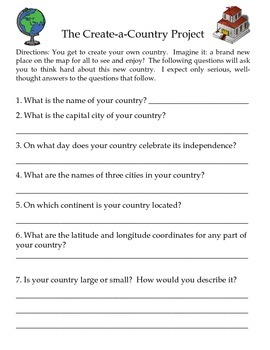 The CreateaCountry Geography Skills Project TpT - All country name and capital