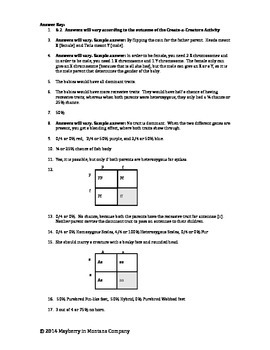 Create a Creature Genetics Extension - Punnett Square Problems