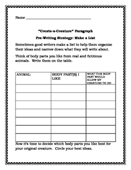 Create-a-Creature Writing Assignment
