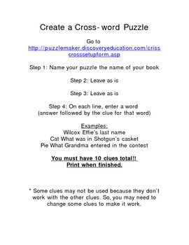 Create a Crossword Puzzle (for a book of choice)
