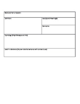 Create a Dictionary Entry Vocabulary Practice Graphic Organizer