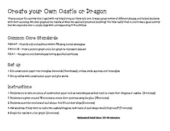 Create a Dragon/Castle Activity with Shapes