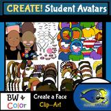 Create-a-Face! Student Avatars Clip-Art! Face, Hair, Eyes,