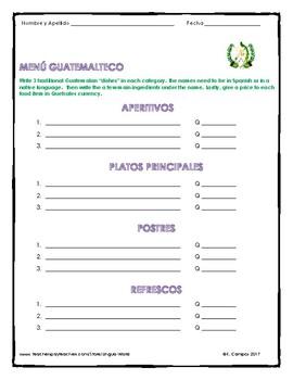 Create a Guatemalan Menu