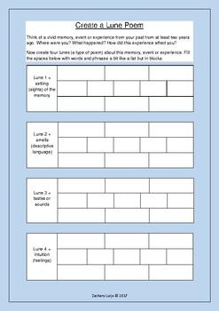 Create a Lune Poem Worksheet