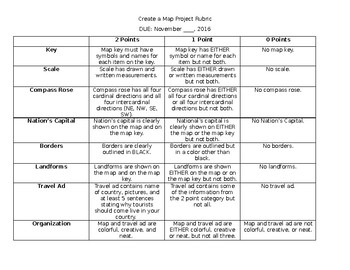 Create a Map Project Rubric