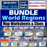 BUNDLE | World Continents & Regions Map Worksheets | Label with Location Clues