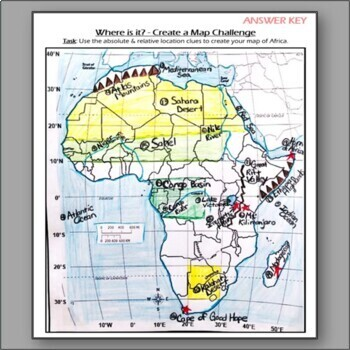 "Create a Map of Africa ""Where is it?"" Challenge Worksheet"