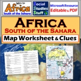 Africa South of the Sahara Map Worksheet | Absolute & Relative Location Clues