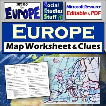 Map Of Europe Worksheets | Teachers Pay Teachers