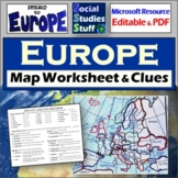 Europe Map Labeling Worksheet | Absolute & Relative Location Clues