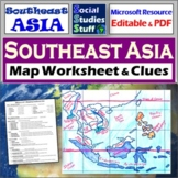 Southeast Asia Map Labeling WS | Absolute & Relative Location Clues | SE Asia