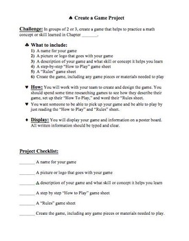 Create a Math Game Project, Group Project, Math Project with Rubric