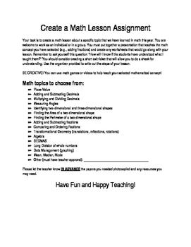 Create a Math Lesson Assignment