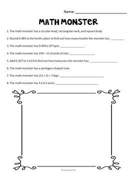 Halloween Math Monster: First Grade