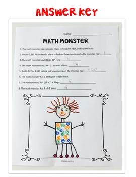 Create a Math Monster {4th Grade}