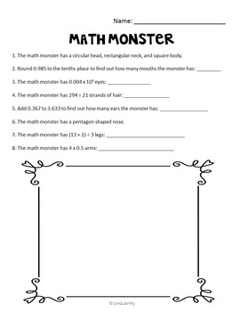 Halloween Math Monster: Fifth Grade