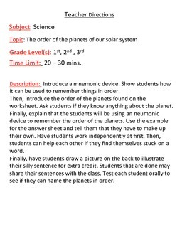 Create a Mnemonic Device for the Order of the Planets