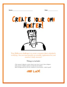 """""""Create a Monster"""" Halloween Activity/Game - Anatomy and E"""