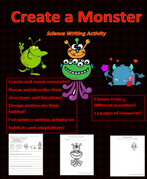 Create a Monster Science Adaptations Activity (Sci- structures and function)
