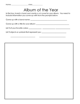Create a Musical Album Cover (activity sheet)