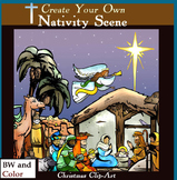 Create-a-Nativity Clip Art Scene!  70 pc. Christian Christmas Set!