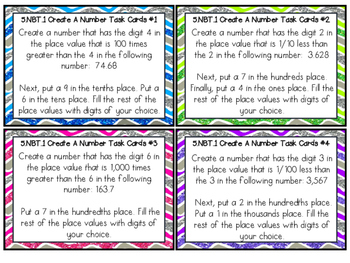 Create a Number Task Cards COMMON CORE ALIGNED 5.NBT.1 COMPARING PLACE VALUES
