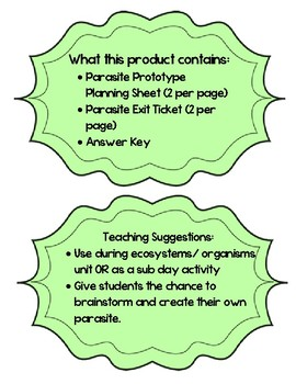 Create a Parasite Prototype Activity with Exit Ticket