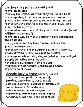 Create a Product {Economics Lessons 3-5}