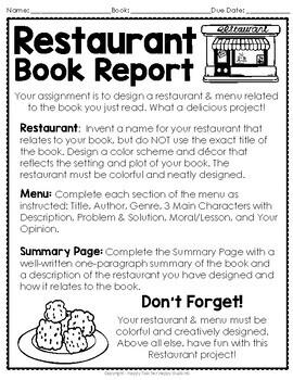 create a restaurant book report directions blank menu rubric more