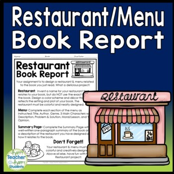 Create a Restaurant Book Report: Directions, Blank Menu, R