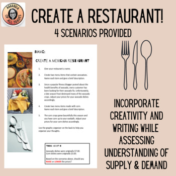 Create a Restaurant: Supply & Demand Practice or Assessment in a Fun Format!