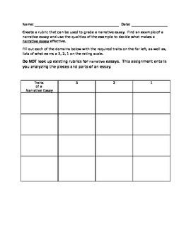 Create a Rubric: Narrative Essay