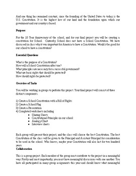 Create a School Constitution - Group Project