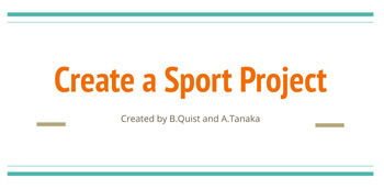 Create a Sport Project