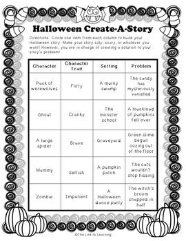 Create a Story - Story Plot and Characterization Writing Activity | Halloween